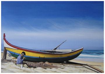 La barca ed il pescatore  70x50  2006