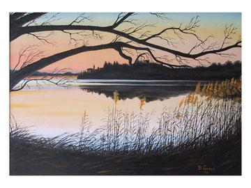 Sun-set  on the lake   70x50   cm  2007