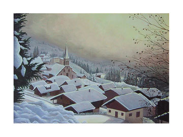 Pink light on the mountain village    70x50  cm  2004