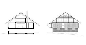 Stallumnutzung | Das verborgene Haus, Homburg: Schnitt und Ostfassade