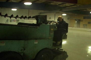 Celia Duffy on her Zamboni at Kutsher's Ice Arena - Film Still