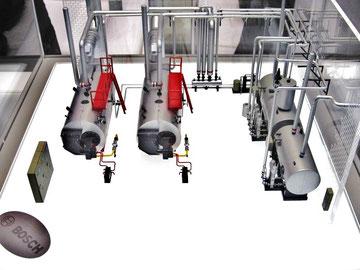 Centrale termica. Da sinistra: il quardo elettrico, i generatori di vapore, il collettore, i condizionanti ed il trattamento acque, il degasatore ed il recupero condense.