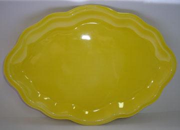 Plat de présentation émaillé jaune