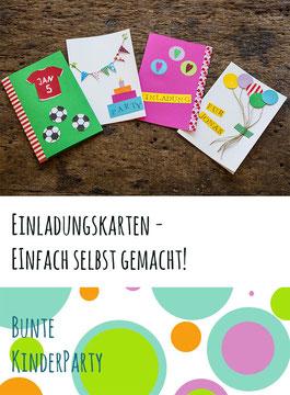 Einladungskarten für den Kindergeburtstag von bunte kinderparty