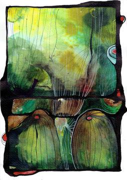 Tanz der Quallen | 2020 | Mischtechnik auf handgeschöpftem Papier | 30 x 21 cm