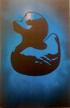 Laurent Gugli-Blue Duck 120x80 cm Stencil sur PVC