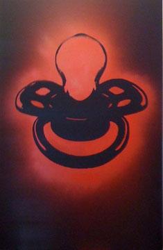 Laurent Gugli-Red Tetine 120x80 cm Stencil sur PVC