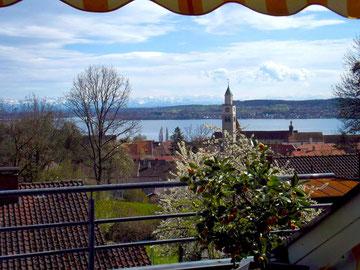 Der Ausblick von der Ferienwohnung auf den Bodensee