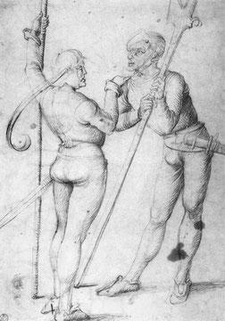 Landsknechte und Paar zu Pferd, Detail: Landsknechte