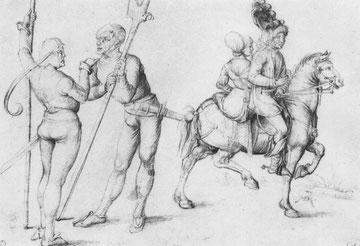 Landsknechte und Paar zu Pferd