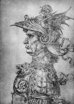 Krieger in antiker Rüstung, im Profil