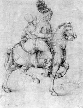 Landsknechte und Paar zu Pferd, Detail: Paar zu Pferd