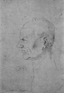 Kopf eines älteren Mannes im Profil