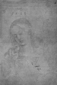 Kopf Marias mit gesenkten Blick