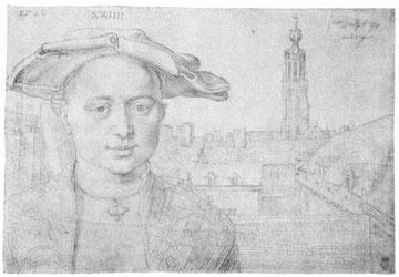 Porträt eines 24-jährigen Mannes und Blick auf St. Michel in Antwerpen