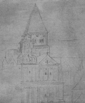 Klosterkirche Maursmünster, von Südwest gesehen, Detail eines Skizzenblattes