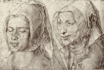 Köpfe einer alten und einer jungen Frau aus Bergen