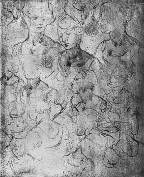 Studienblatt mit weiblichen Figuren