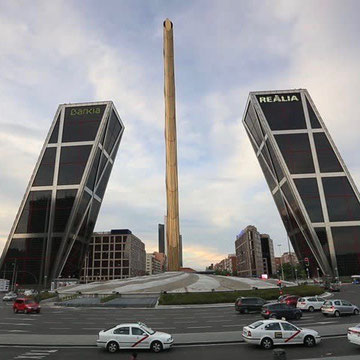 Gate of Europe Towers (1996) by Philip Johnson and John Burgee Madrid Spain