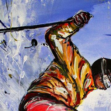 Skifahrer Sprung Tiefschnee Bild - Ski Sport Gemälde Malerei - Skispringer
