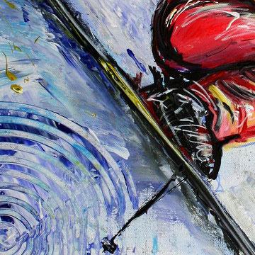 Skifahrer Sprung Tiefschnee Bild - Ski Sport Gemälde Malerei