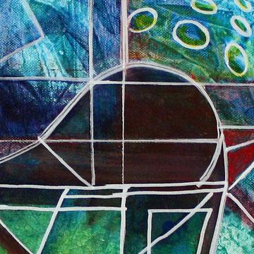 Blauer Vogel tuerkis mint gruen abstrakte Kunst Wandbild