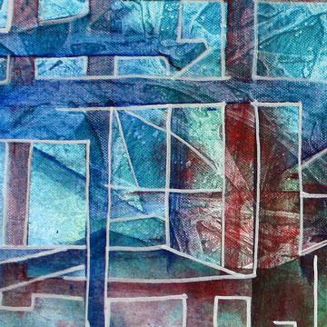 Blauer Vogel tuerkis mint gruen abstrakte Kunst