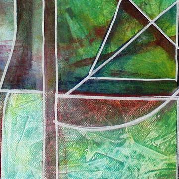 Blauer Vogel tuerkis mint gruen abstrakte Kunst Wandbild abstrakt