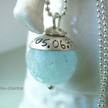 facettierter Aquamarin mit beschriftbarer Silberkappe zur Hochzeit ... something blue