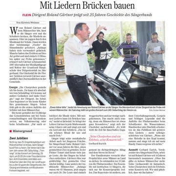 Presseartikel Heilbronner Stimme – Mit Liedern Brücken bauen