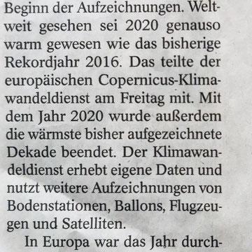 WAZ 09.01.2021, 2020 war das bisher wärmste Jahr in Europa