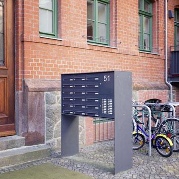 Freistehende Briefkastenanlagen Stahlblech, Gravur