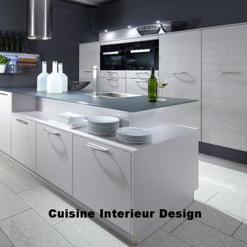 cuisine design en laque avec ilot décalé mur technique schroder Toulouse