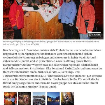Online-Artikel WOCHE, Obersteirische Rundschau, Dezember 2016