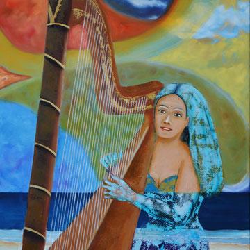 Carla am Meer 80 x 60 cm. Öl auf Leinwand