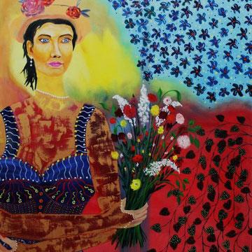 Blumenmädchen, 80 x 100 cm. Öl auf Leinwand,