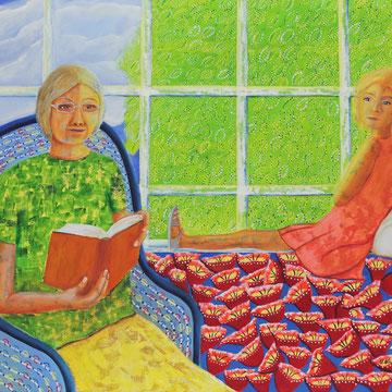 Großmutter liest vor. 80 x 100 cm, Öl auf Leinwand