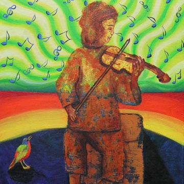 Kind mit Violine 50 x 60 cm, Öl auf Leinwand