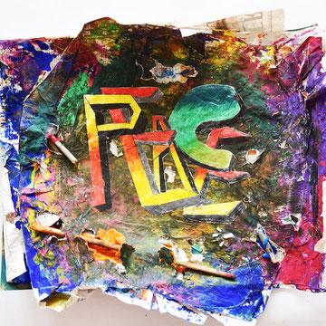 Jacob      Der ausgeschnitten Schriftzug wird auf den Hintergrund geklebt.