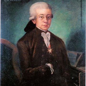 """""""Mozart de Bolonia"""" fue copiado en 1777 en Salzburgo (Austria) por un autor desconocido a partir de un retrato original pedido para la galería de compositores de Giovanni Battista Martini en Bolonia (Italia)."""