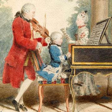 La familia Mozart durante su viaje (detalle): Leopold interpretando el violín; Wolfgang Amadeus al clavecín y Nannerl, cantando. Acuarela de Louis Carrogis Carmontelle hacia 1763.
