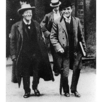 MAhler en Praha con el director de orquesta Bruno Walter, 1908.