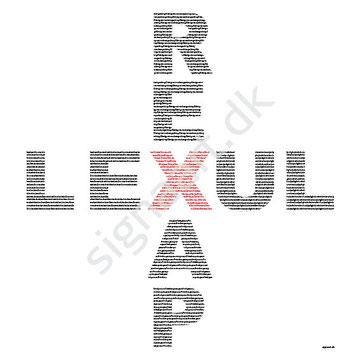 P1 50x50cm  Det røde X står for Kristus. De fire ord: Rex, Lex, Pax og Lux betyder: Kristus er kongen (rex), Kristus er loven (lex), Kristus er fred (pax) og Kristus er lyset (lux)