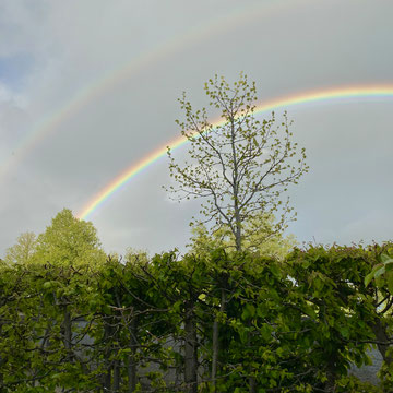 Regenbogen bei meinem ersten Besuch seit langem am Probenort meines Chores. Wir planen den Wiederbeginn nach Corona. Das kann ja nur gut kommen!