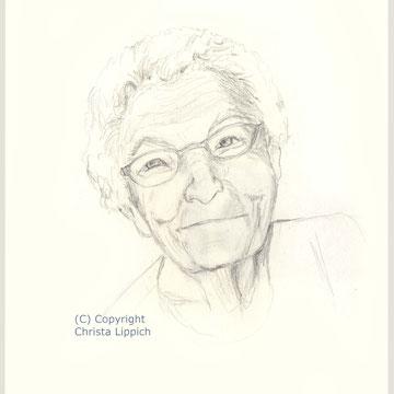 Alte Dame, Bleistiftzeichung auf Papier, Christa Lippich - Porträtmalerei