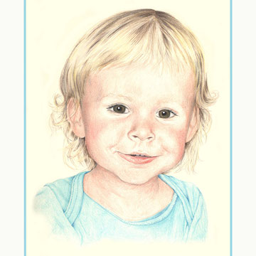 Kleines Kind, Polychromos-Stifte auf Papier, Christa Lippich - Porträtmalerei