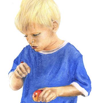 Kleiner Junge, Pastellkreide auf Papier, Christa Lippich - Porträtmalerei