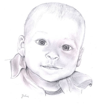 Baby 3, Bleistiftzeichnung, Christa Lippich - Porträtmalerei