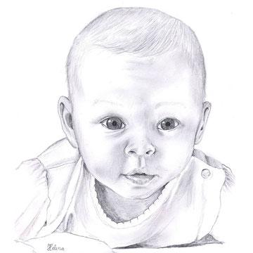 Baby 1, Bleistiftzeichung auf Papier, Christa Lippich - Porträtmalerei