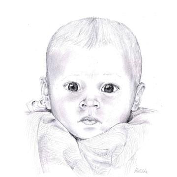 Baby 2, Bleistiftzeichnung auf Papier, Christa Lippich - Porträtmalerei